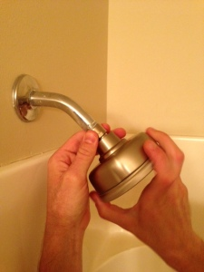 new shower head by hand