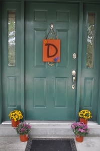 Fall Burlap Door Hanger with Felt Flowers