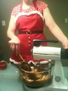 I'm in the holiday spirit in my holiday apron!