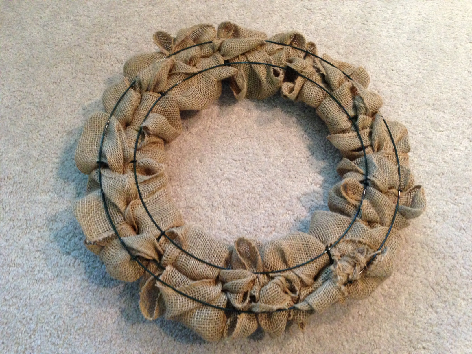 Diy burlap door wreath gaining mommymentum for What to make with burlap
